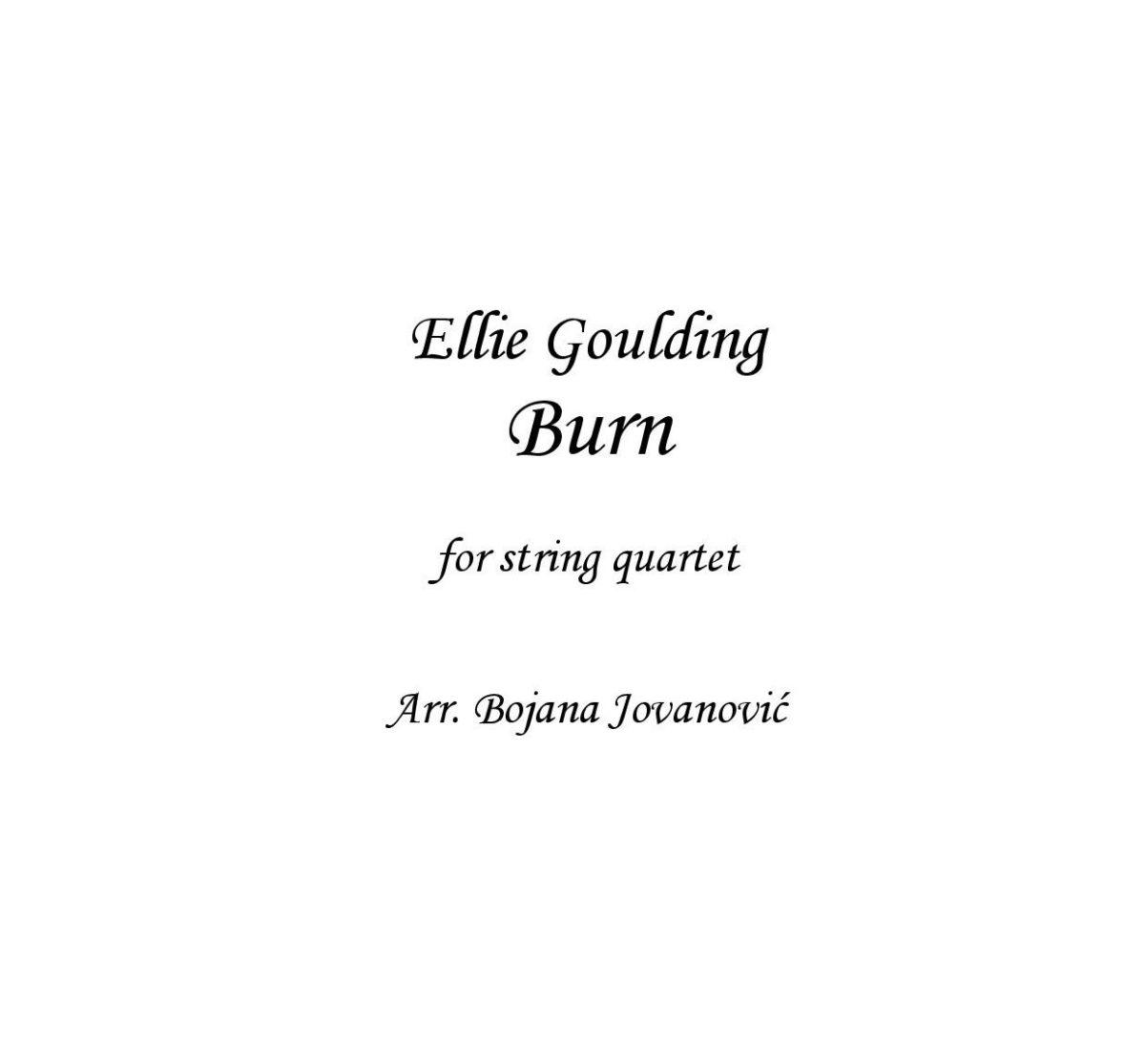 Burn (Ellie Goulding) - Sheet Music