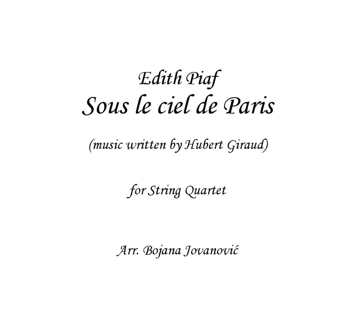 Sous le ciel de Paris (Edith Piaf) - Sheet Music