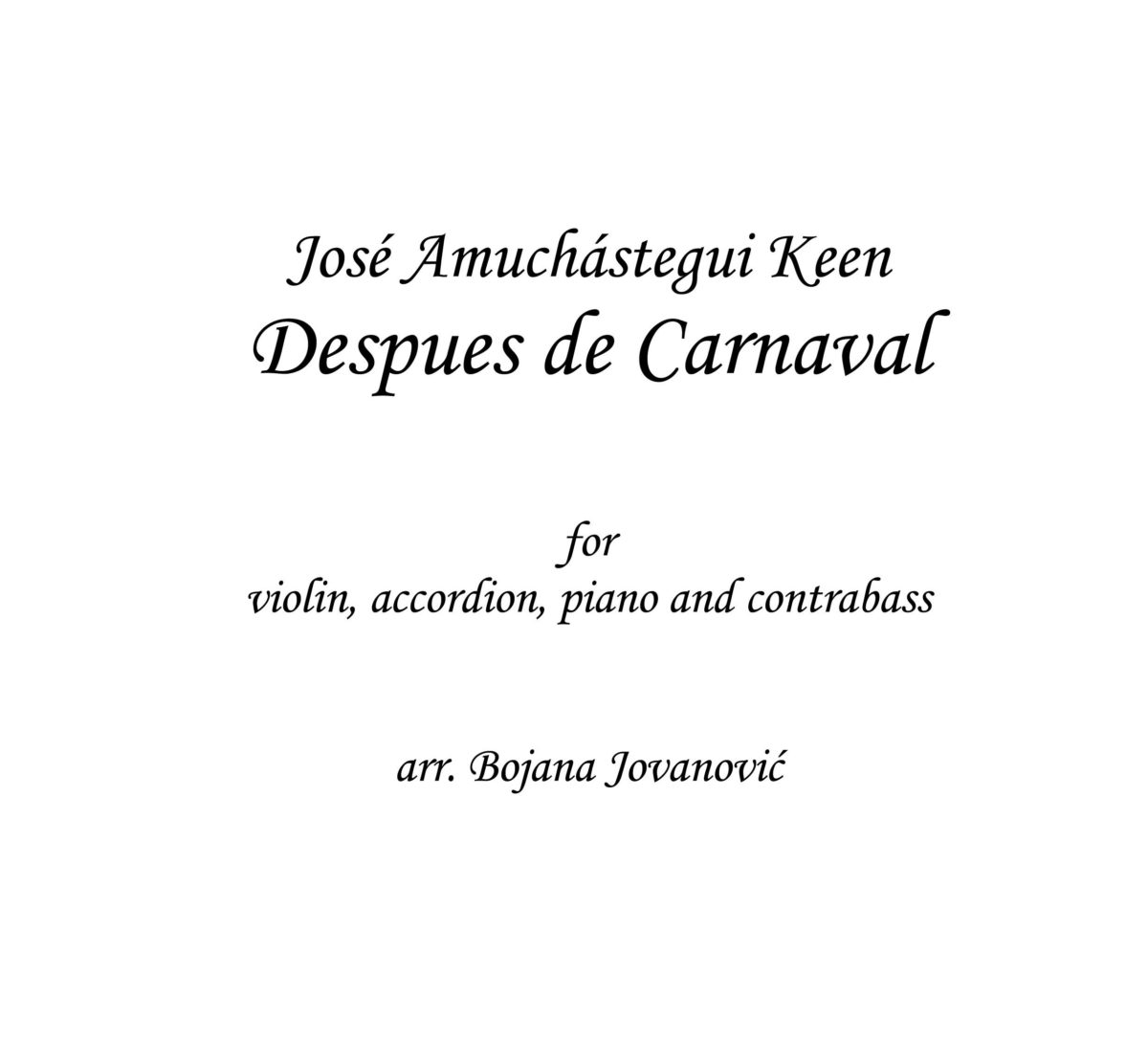 Despues de Carnaval (J.A.Keen) - Sheet Music