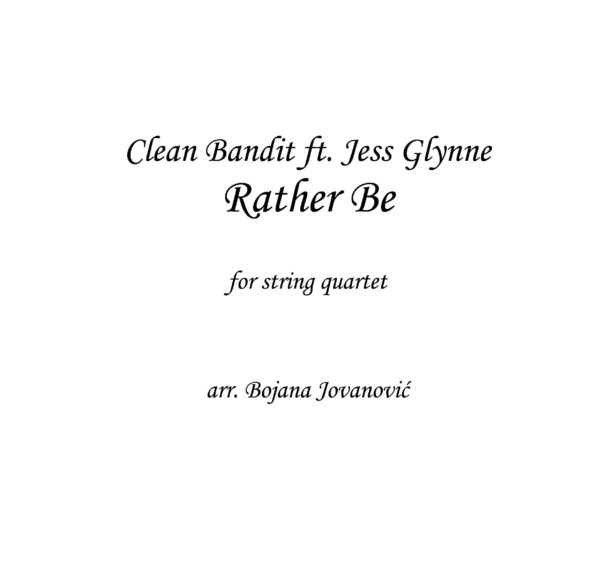 Rather be (Clean Bandit) - Sheet Music