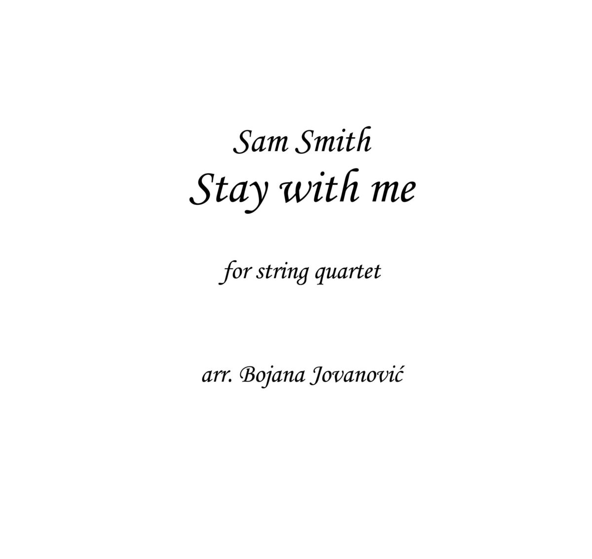 Stay with me (Sam Smith) - Sheet Music