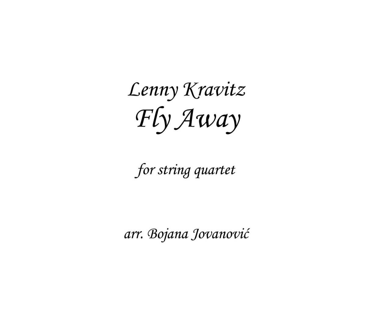 Fly Away (Lenny Kravitz) - Sheet Music