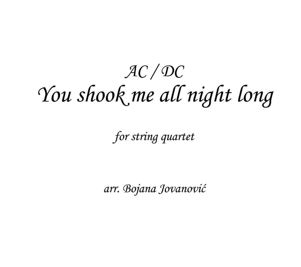 You shook me all night long (AC/DC) - Sheet Music