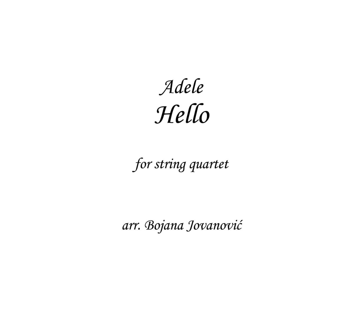 Hello (Adele) - Sheet Music