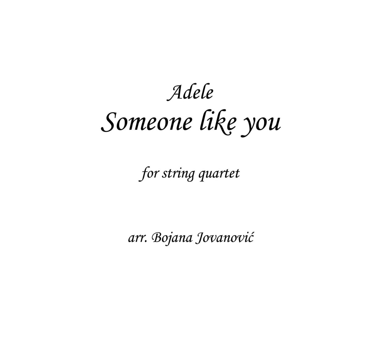 Someone like you (Adele) - Sheet Music