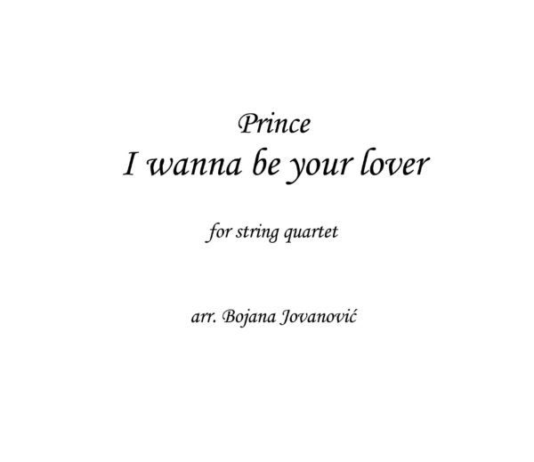 I wanna be your lover (Prince) - Sheet Music