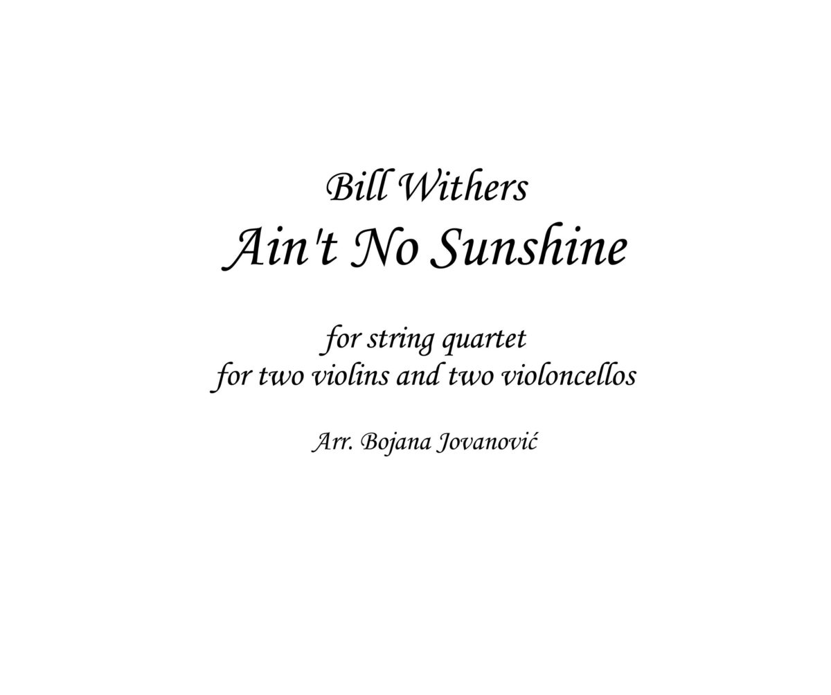 Ain't no sunshine (Bill Withers) - Sheet Music