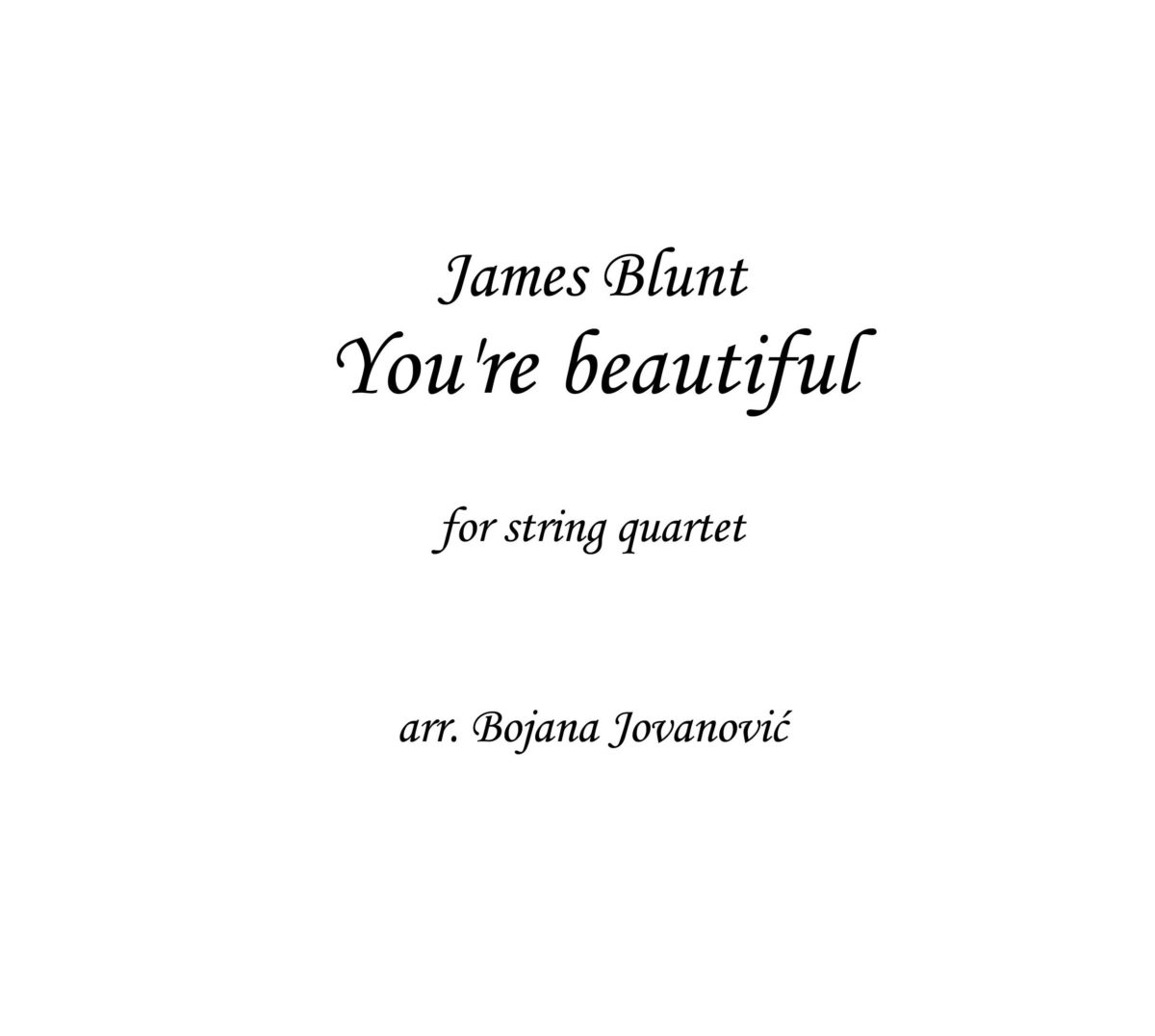 You're beautiful (James Blunt) - Sheet Music