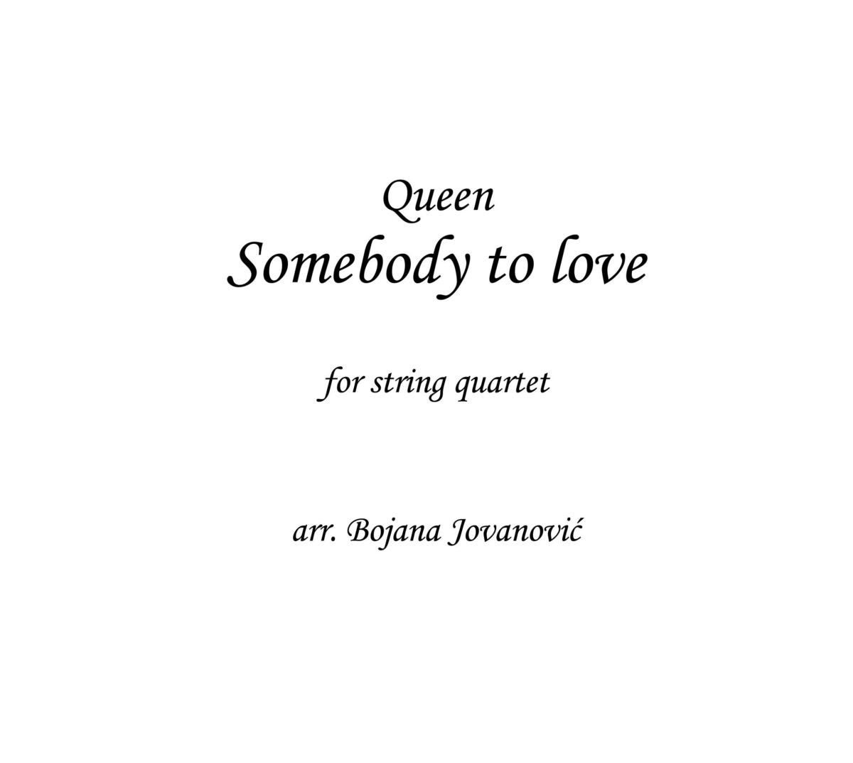 Somebody to love (Queen) - Sheet Music