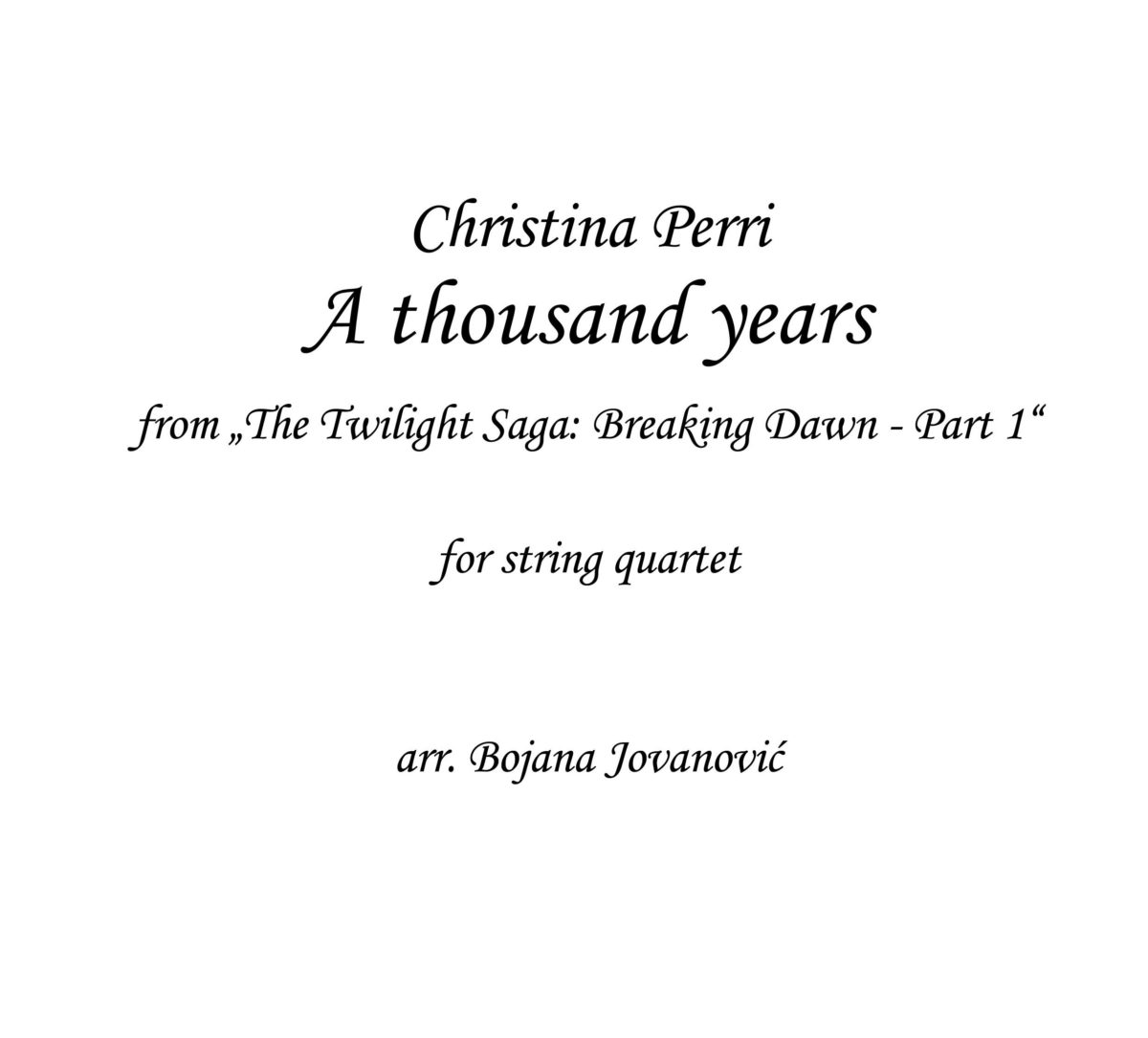 A thousand years (Christina Perri) - Sheet Music