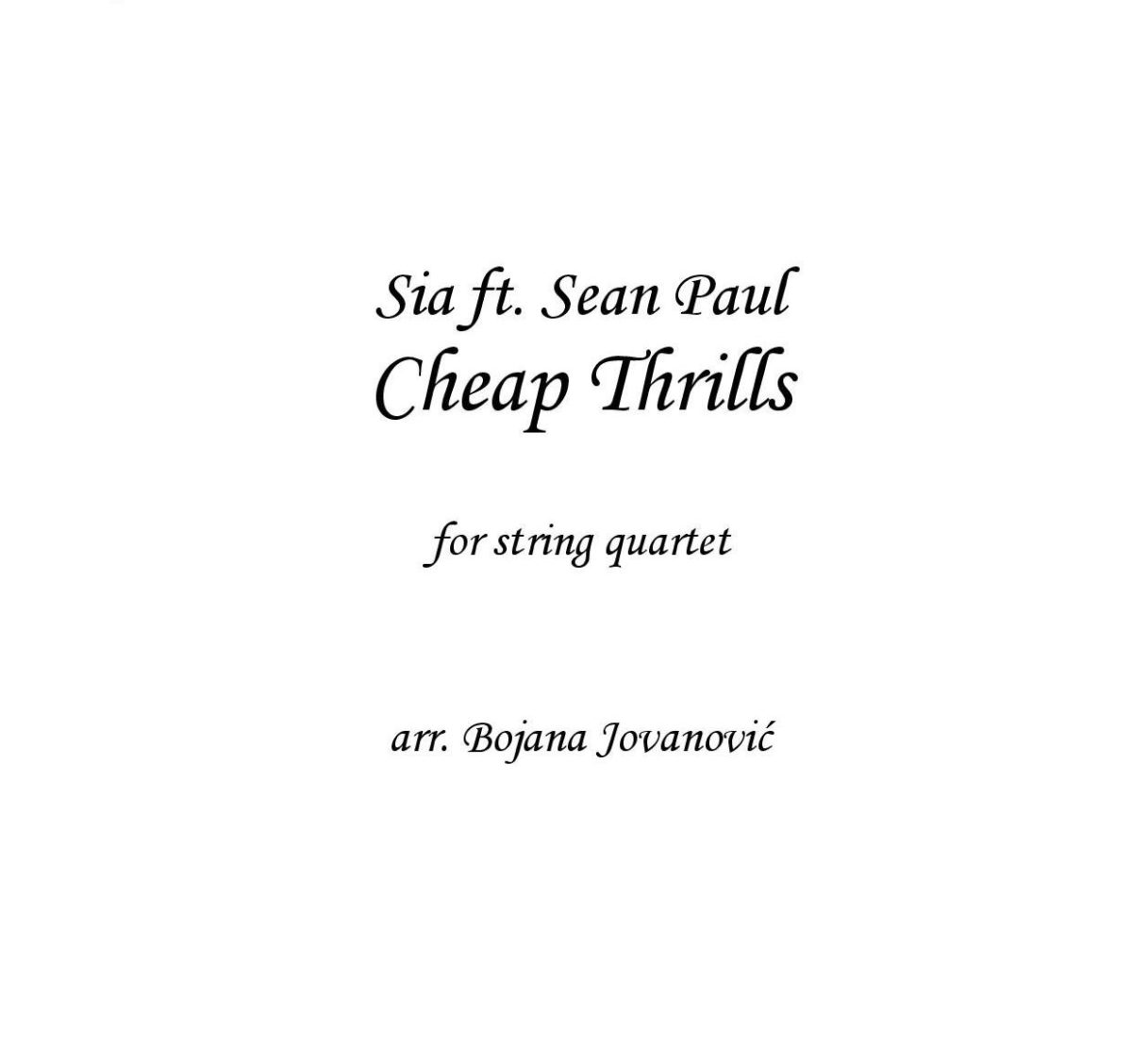 Cheap Thrills (Sia) - Sheet Music