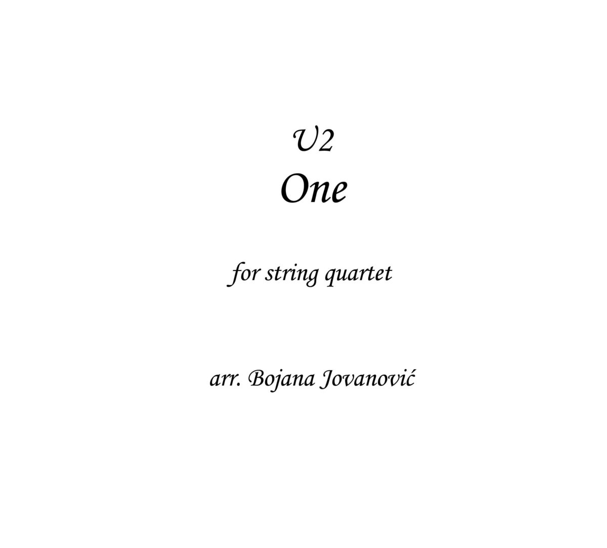 One (U2) - Sheet Music