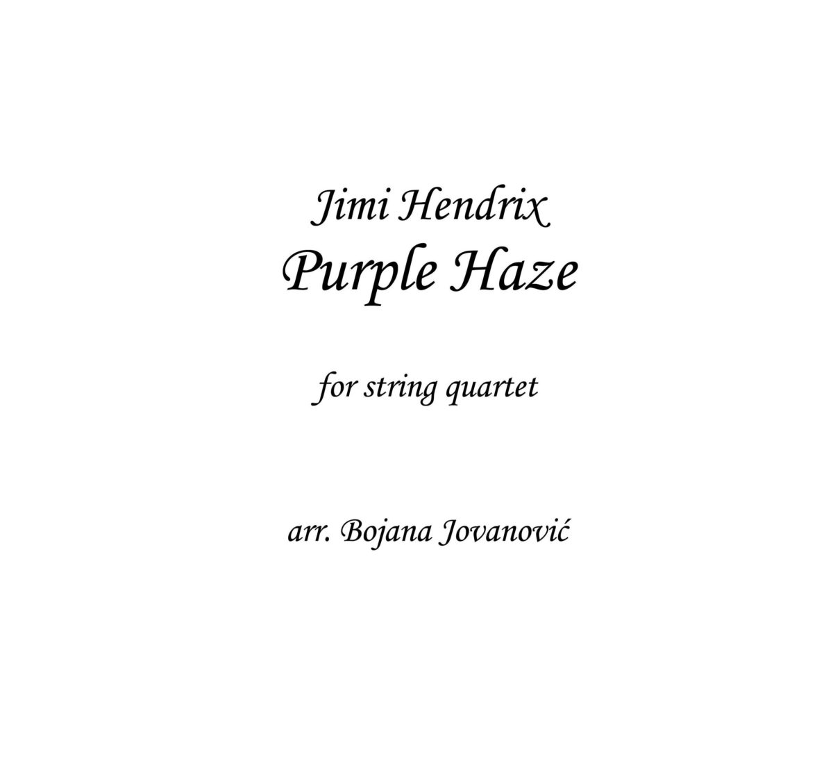 Purple Haze (Jimi Hendrix) - Sheet Music