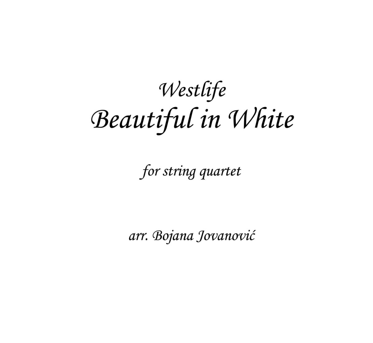 Beautiful in White (Westlife) - Sheet Music