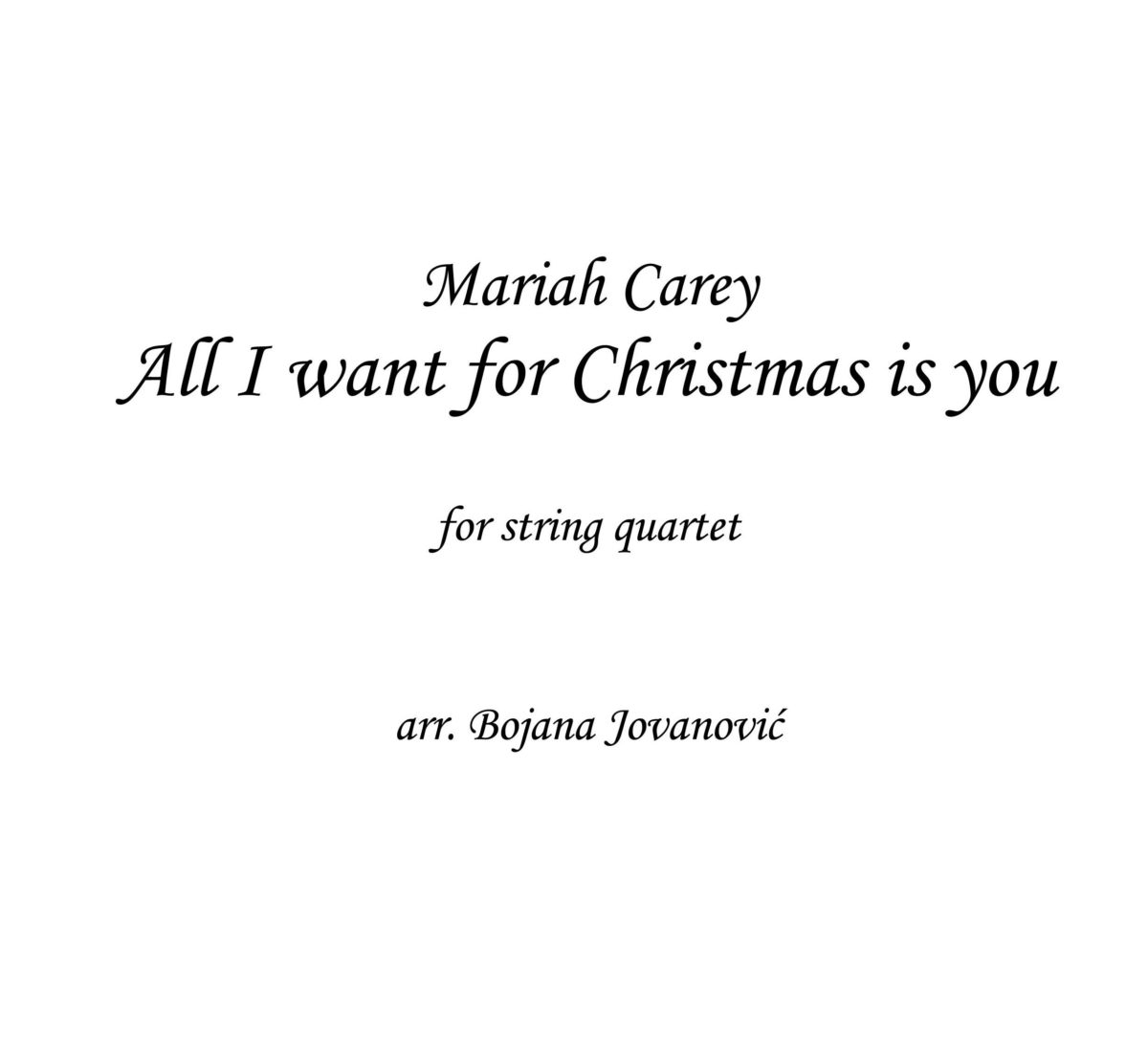 All I want for Christmas is you (Mariah Carey) - Sheet Music