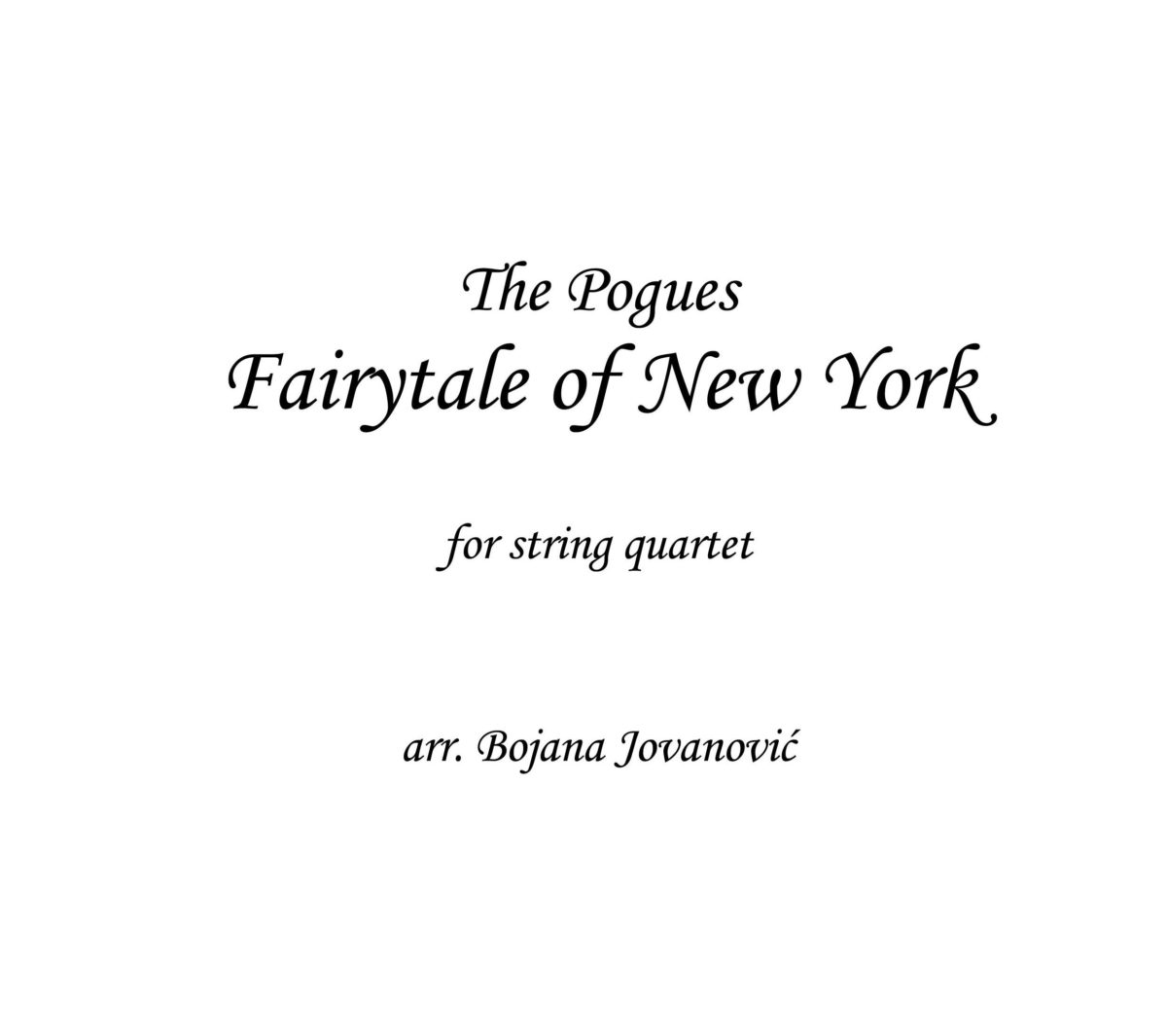 Fairytale of New York (The Pogues) - Sheet Music