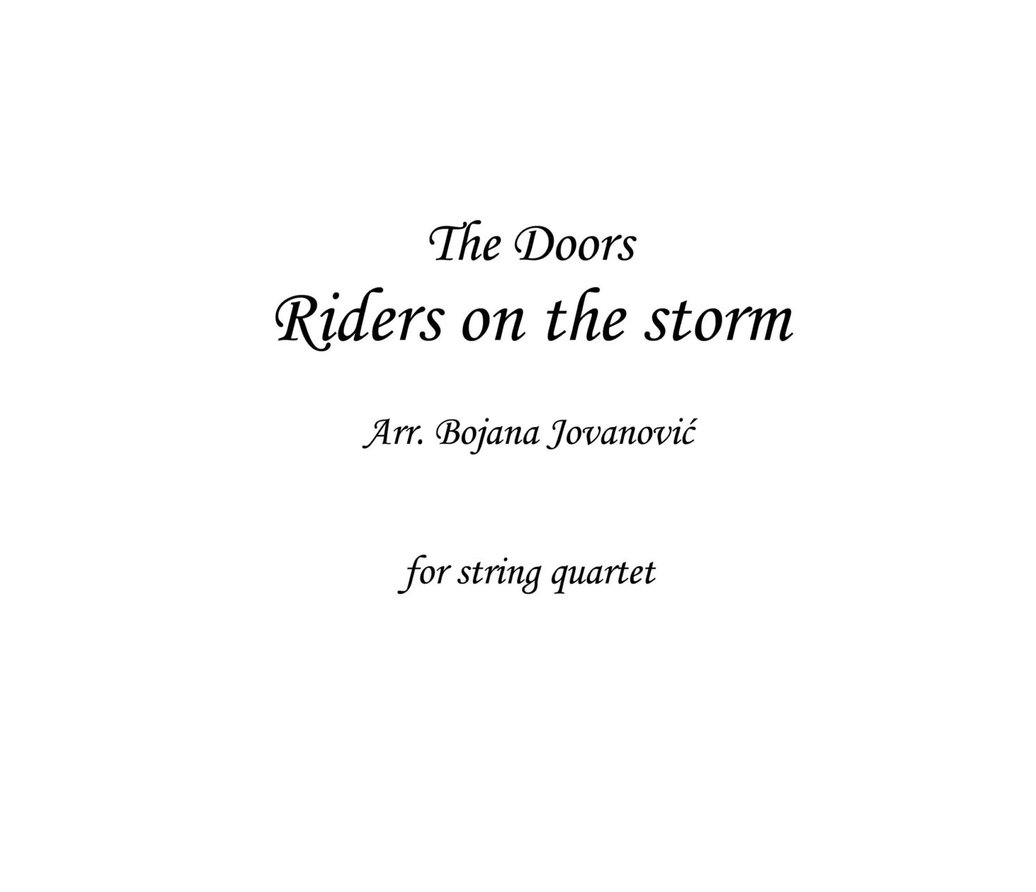 Riders On The Storm Sheet Music The Doors For String Quartet