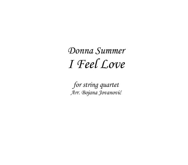 I feel love (Donna Summer) - Sheet Music