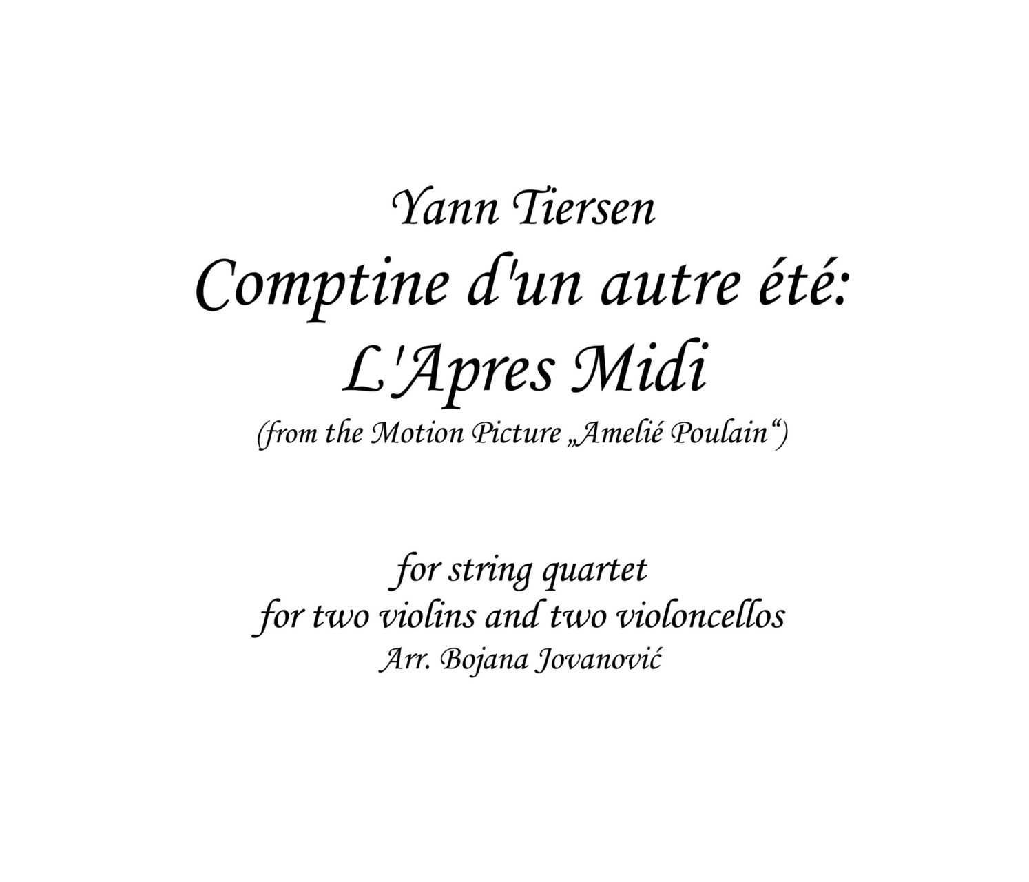Comptine Dun Autre Ete Lapres Midi Yann Tiersen