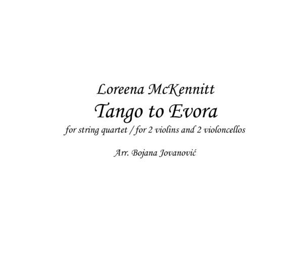 Tango to Evora (Loreena McKennitt) - Sheet Music