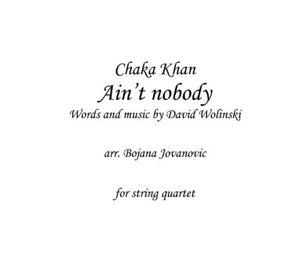 Ain't nobody (Chaka Khan) - Sheet Music