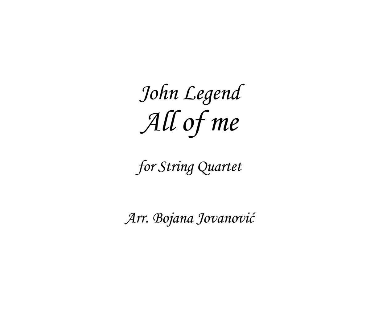 All of me (John Legend) - Sheet Music