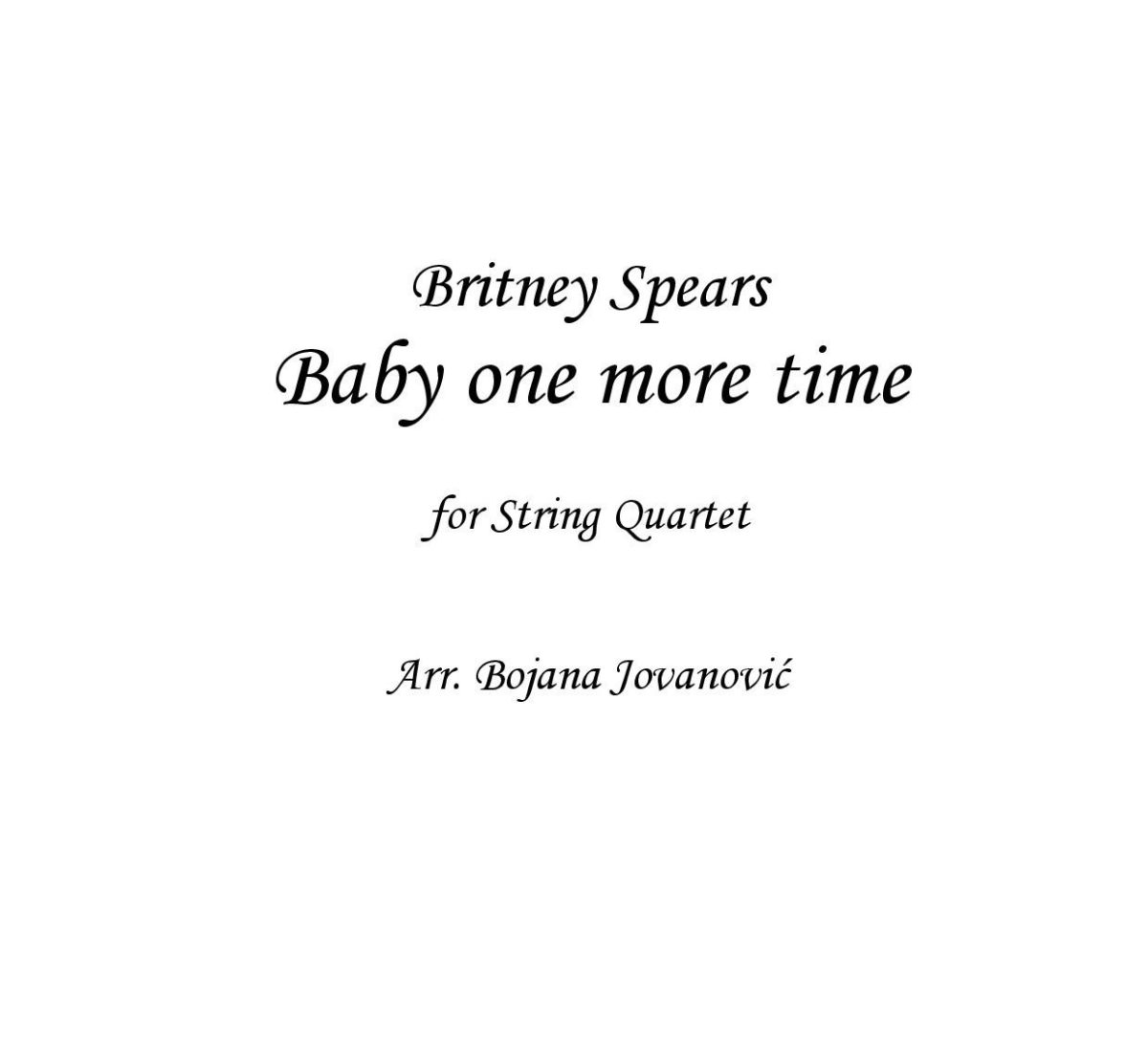 Baby ne more time (Britney Spears) - Sheet Music