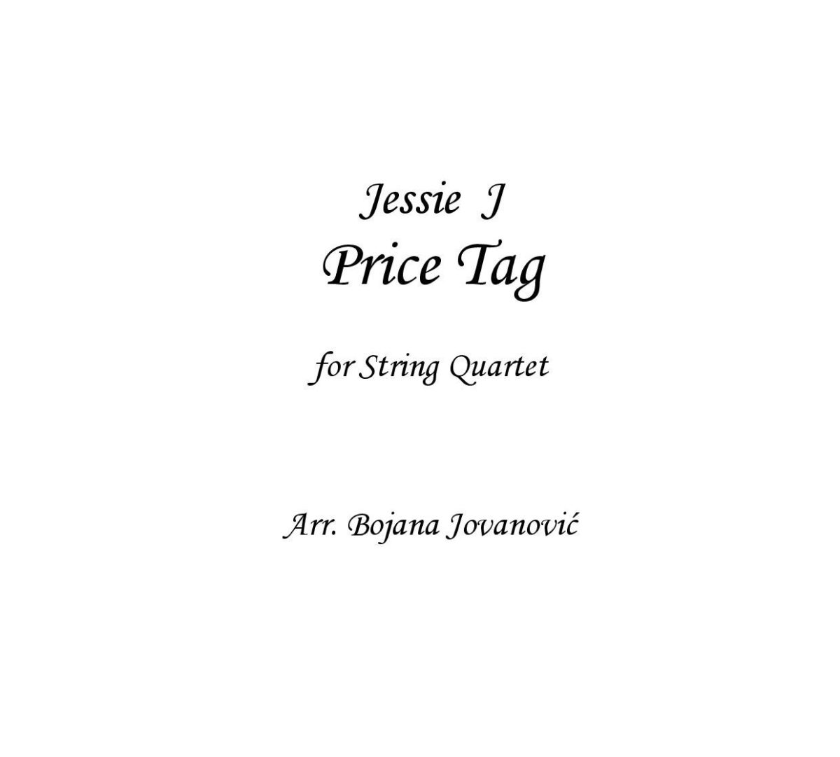 Price Tag (Jessie J) - Sheet Music