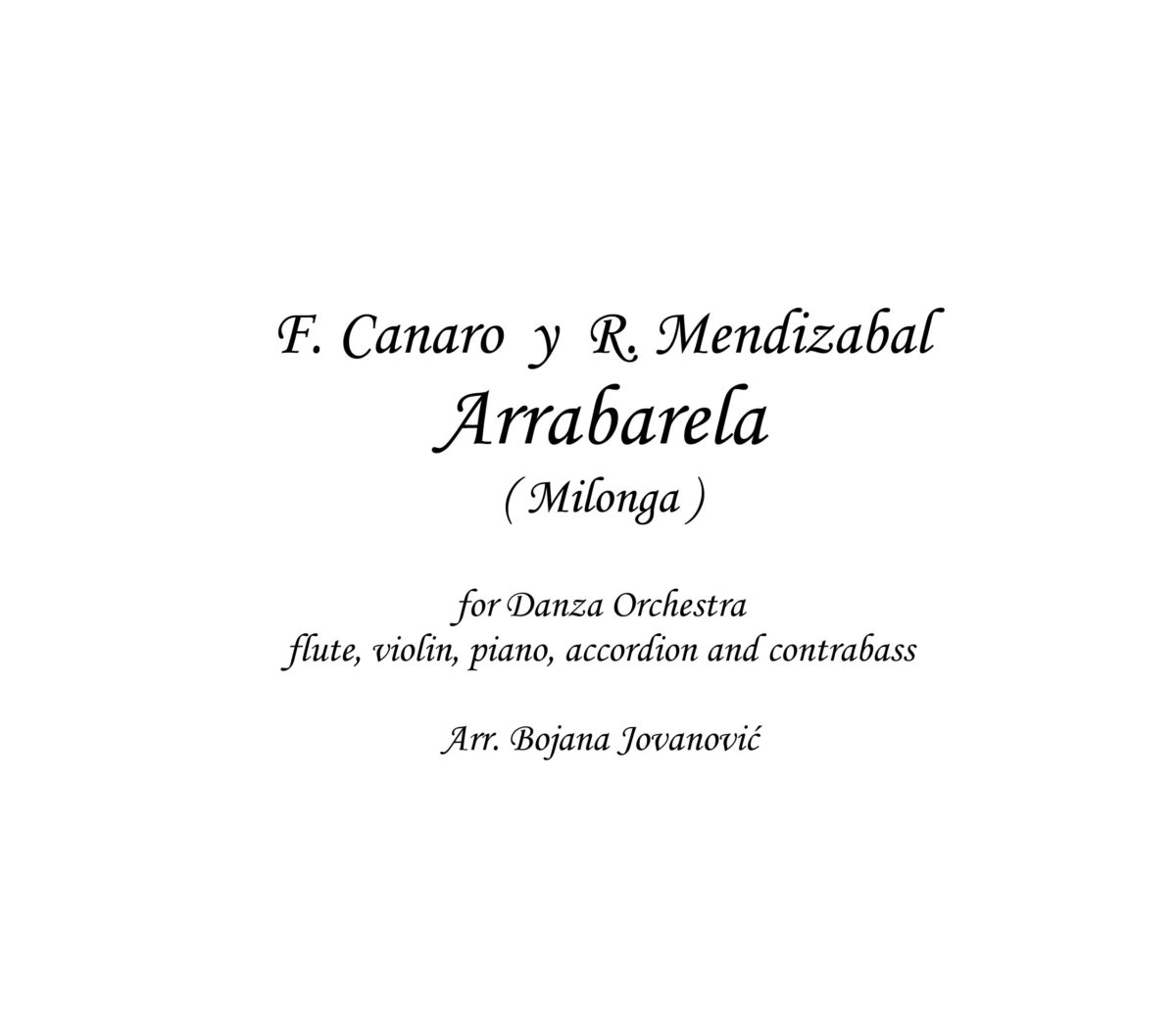 Arrabarela (Francisco Canaro) - Sheet Music