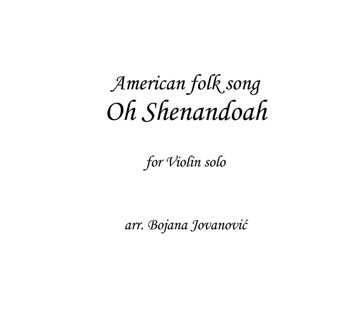 Shenandoah - American folk music - Sheet Music