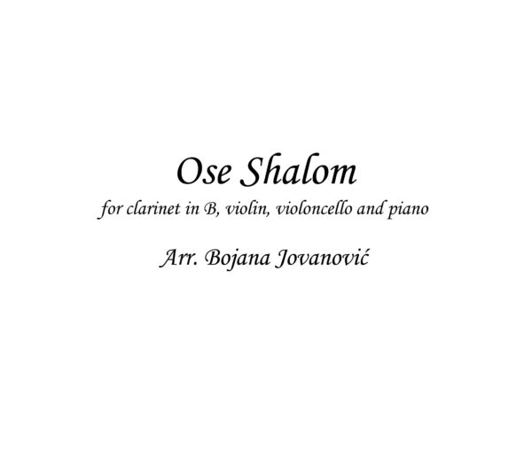 Ose Shalom (Klezmer) - Sheet Music