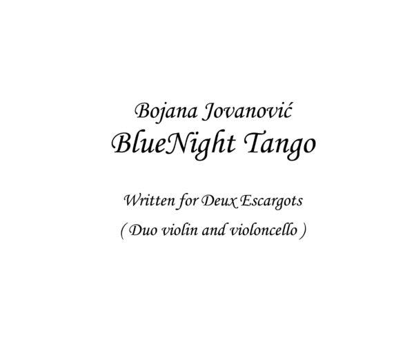BlueNight Tango (Bojana Jovanovic) - Sheet Music