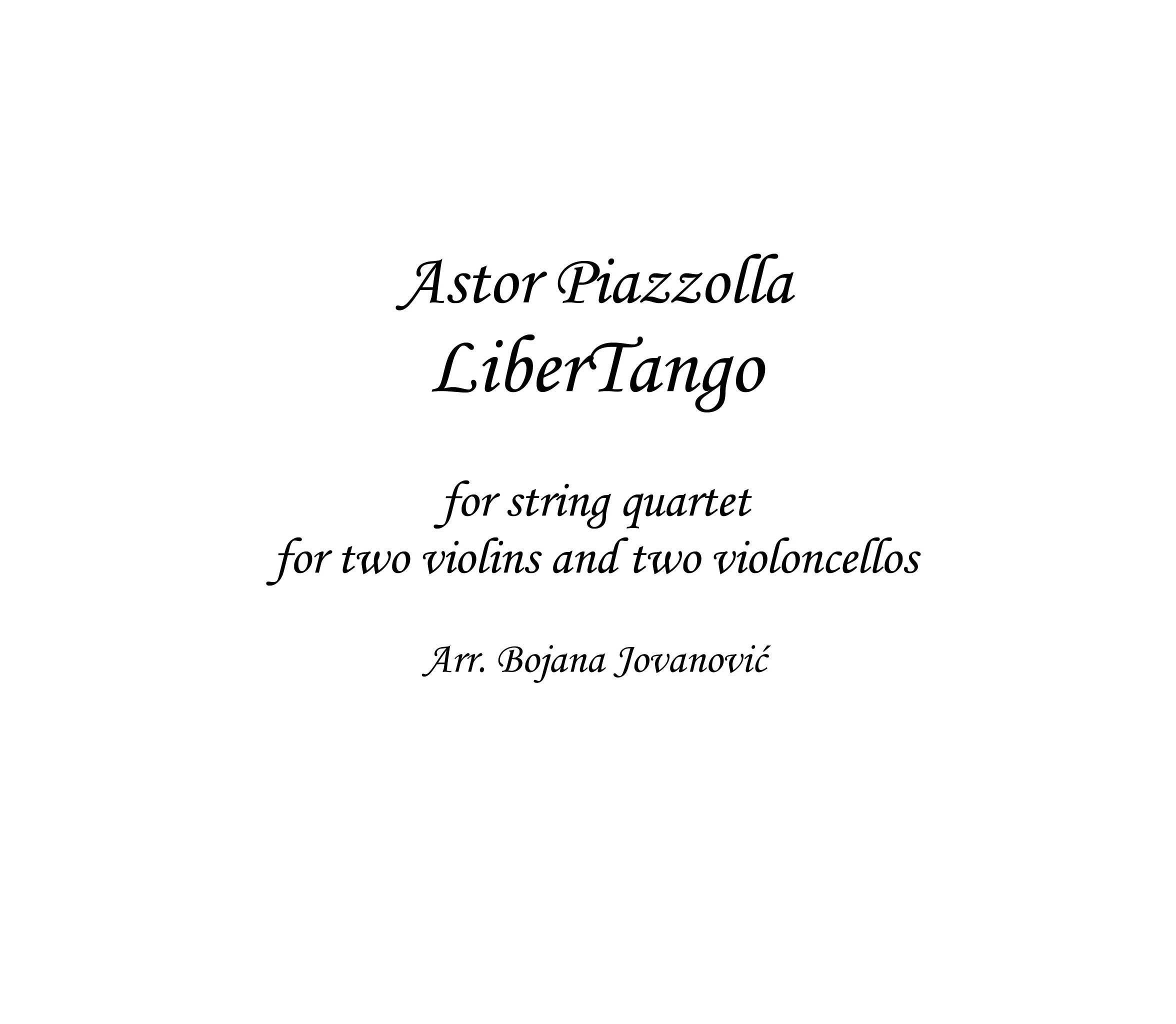 Libertango pdf string quartet instrument
