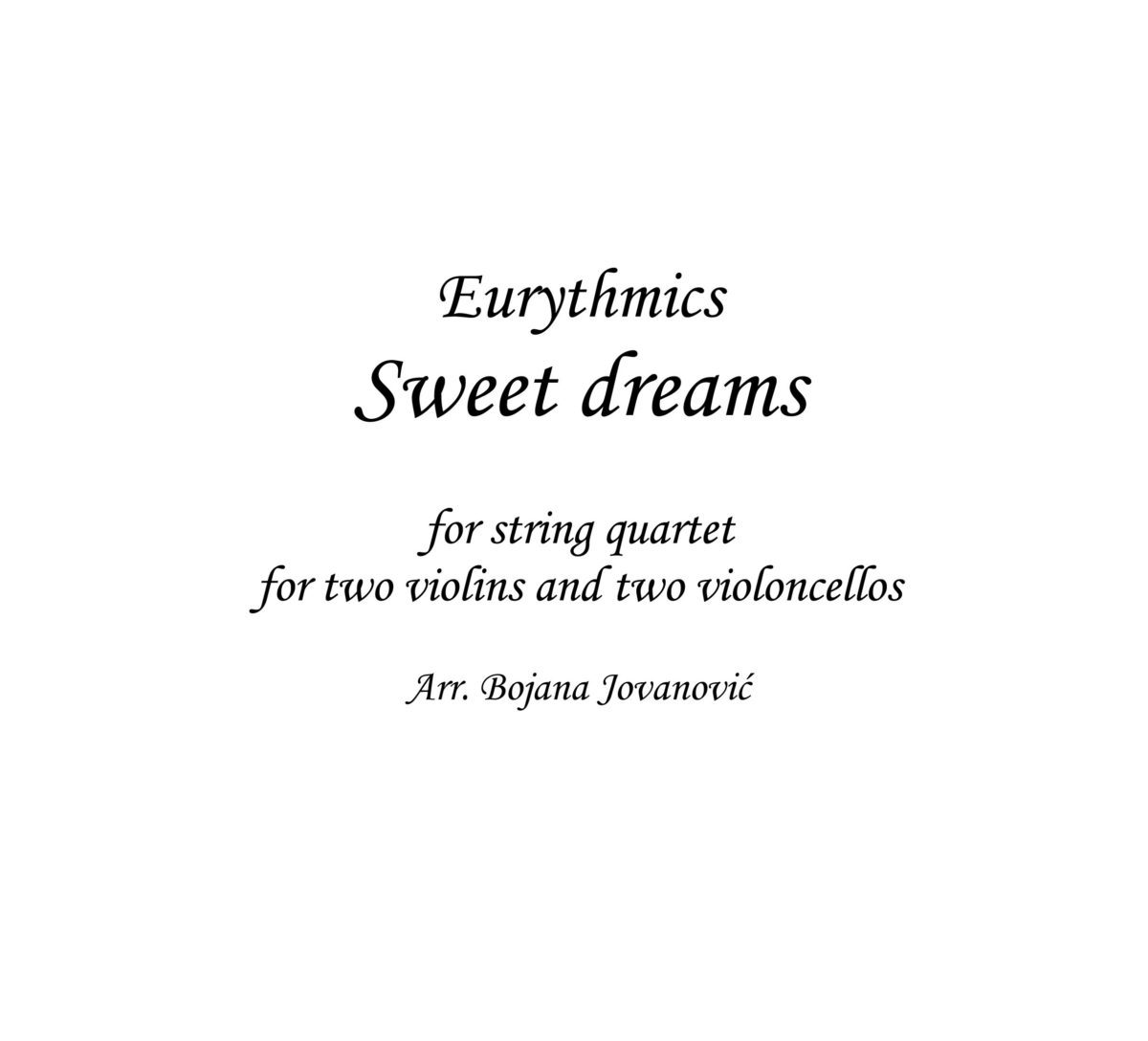 Sweet dreams (Eurythmics) - Sheet Music