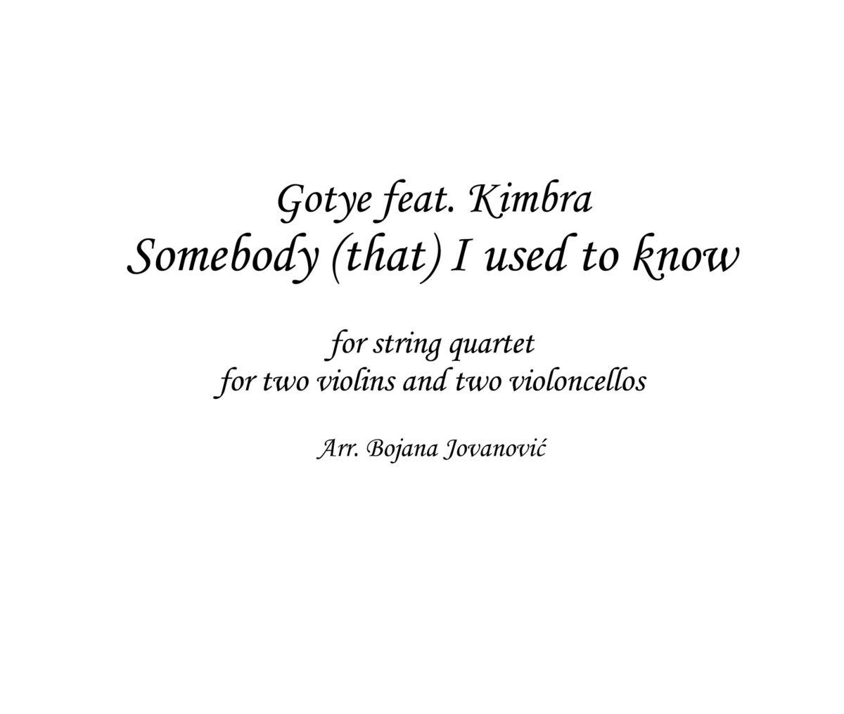 Somebody I used to know (Gotye ft Kimbra) - Sheet Music