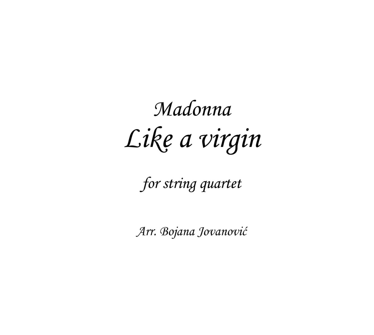 Like a virgin (Madonna) - Sheet Music