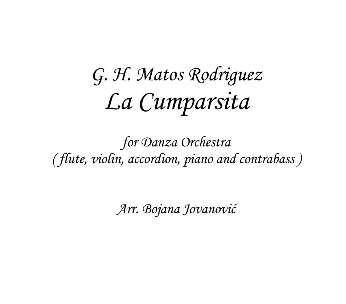 La Cumparsita (G. M. Rodriguez) - Sheet Music