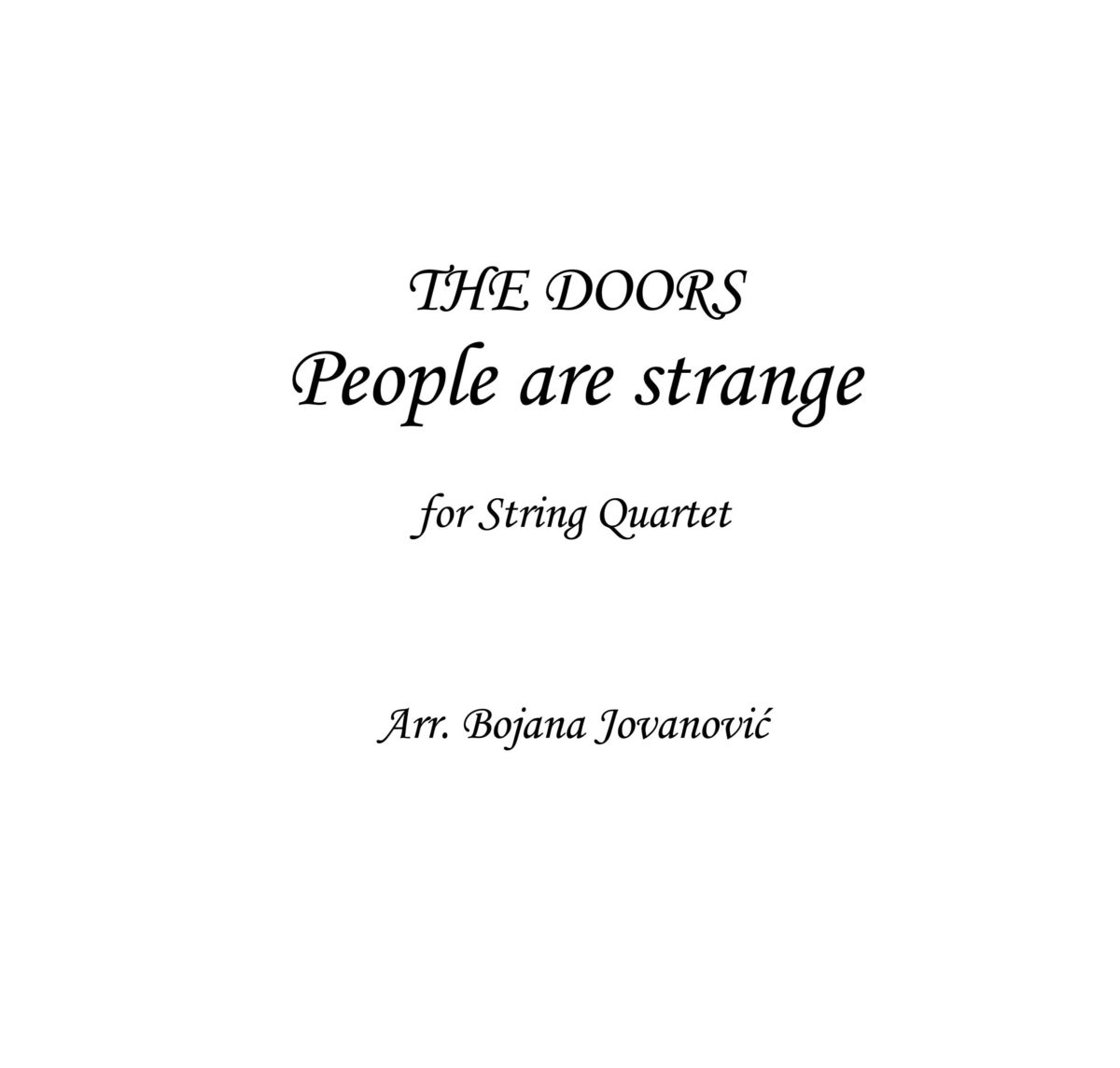 People are strange (The Doors) - Sheet Music