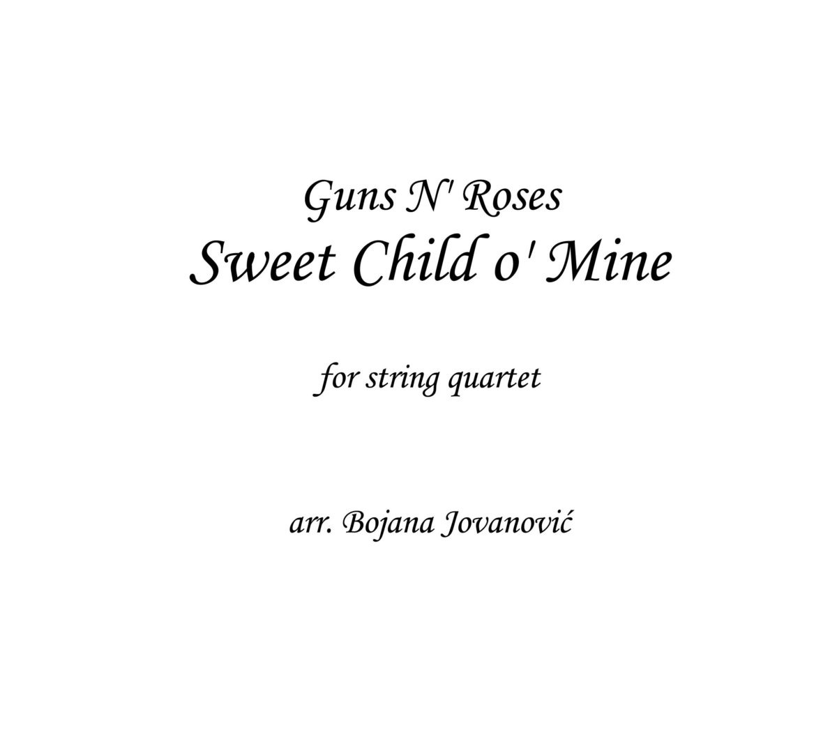 Sweet Child o' Mine (Guns N' Roses) - Sheet Music