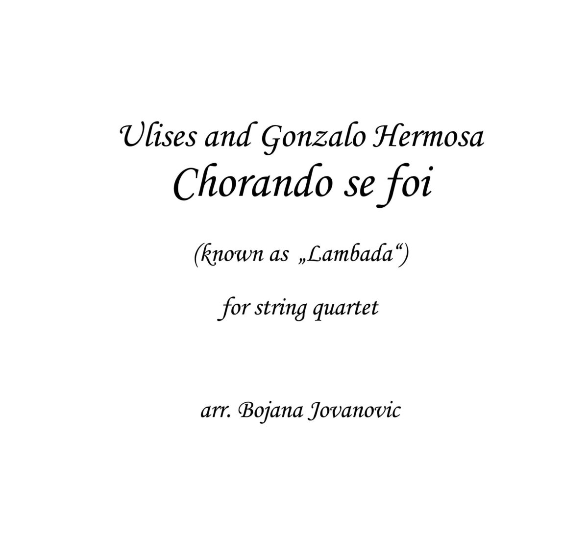 Chorando se foi - Lambada (Kaoma) - Sheet Music