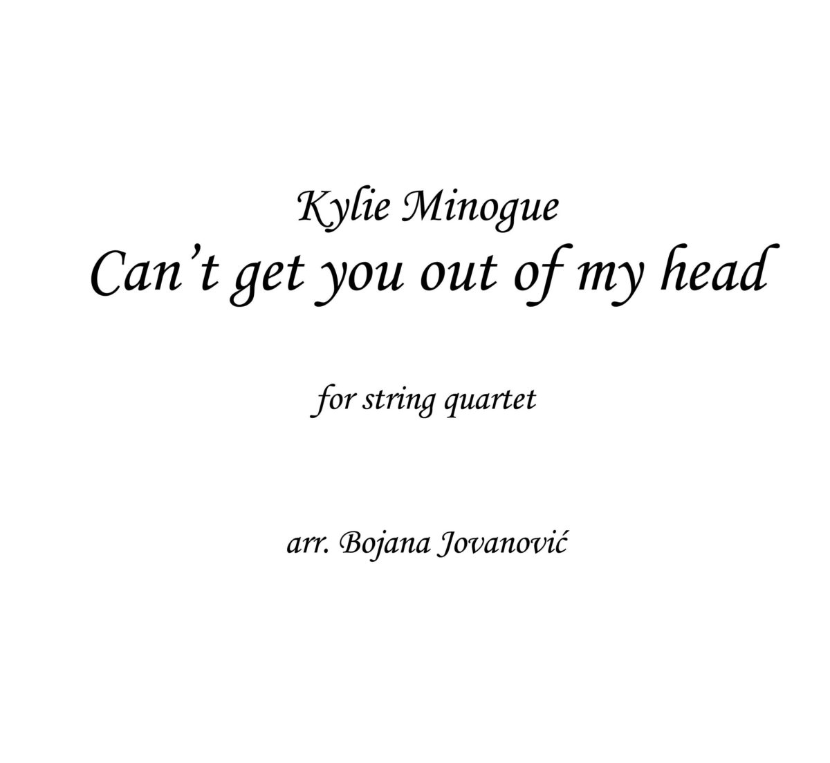 Can't get you out of my head (Kylie Minogue) - Sheet Music