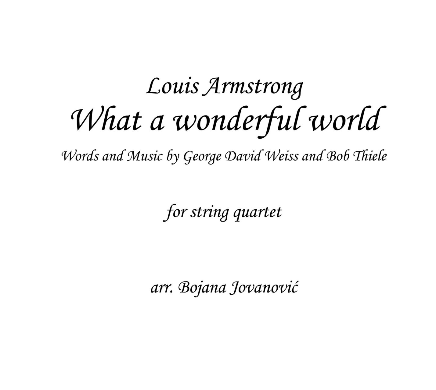 What A Wonderful World Sheet Music Louis Armstrong For String Quartet