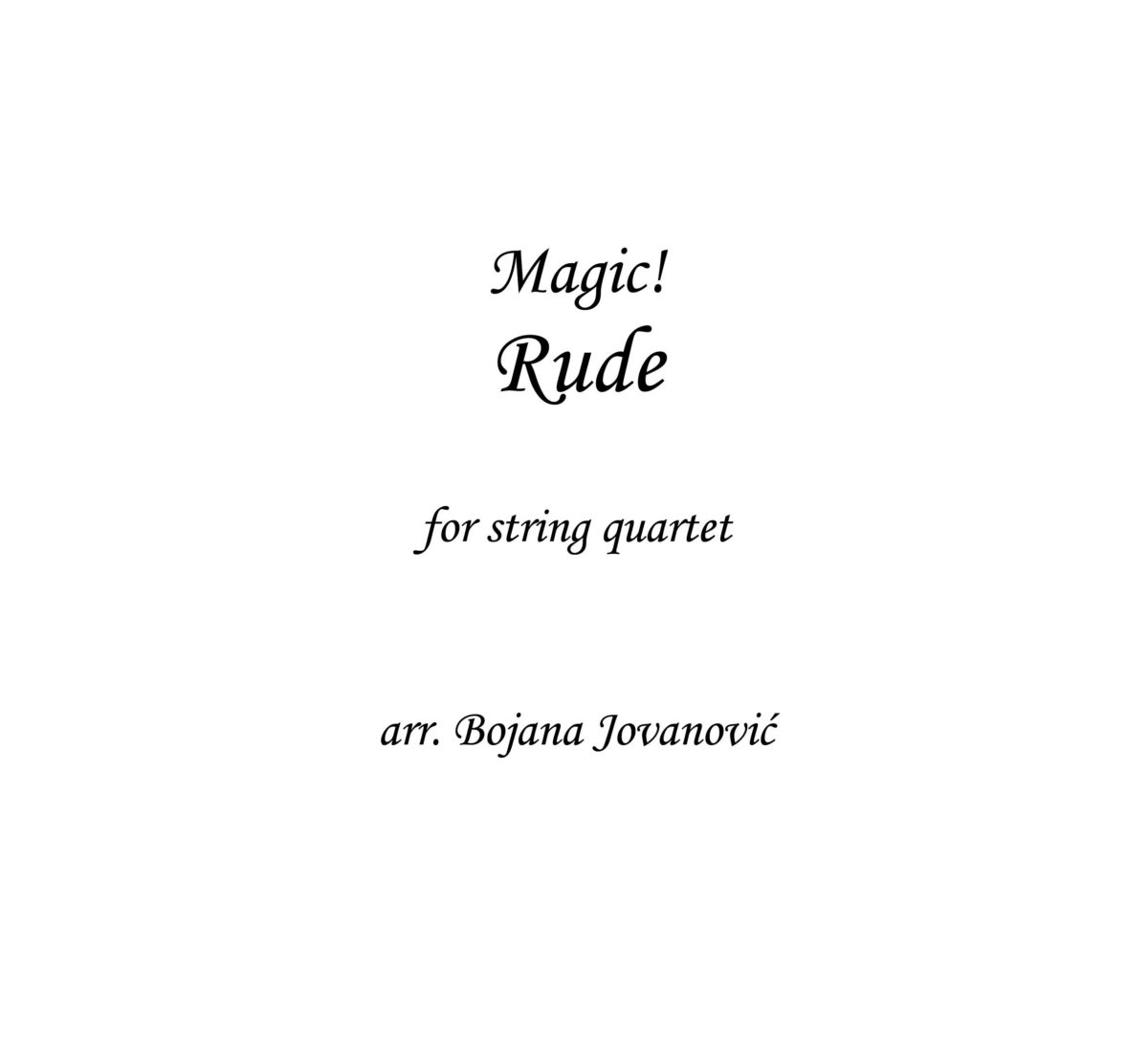Rude (Magic!) - Sheet Music