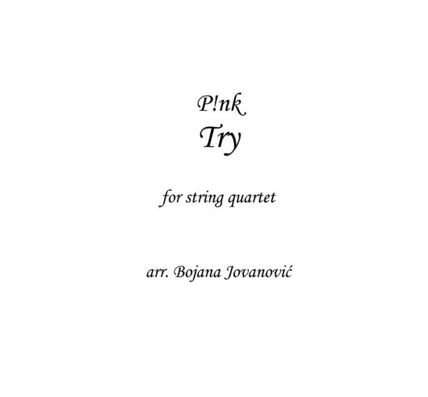 Try (Pink) - Sheet Music