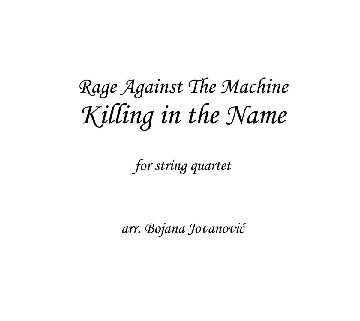 Killing in the name (RATM) - Sheet Music