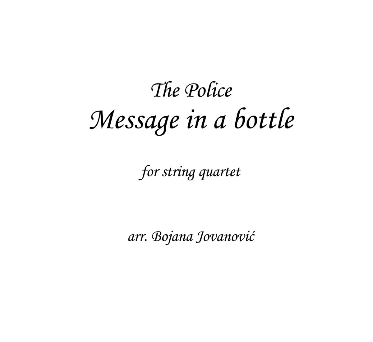 Message in a bottle (The Police) - Sheet Music