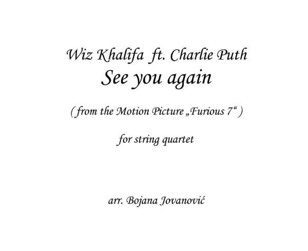 See you again (Wiz Khalifa ft Charlie Puth) - Sheet Music