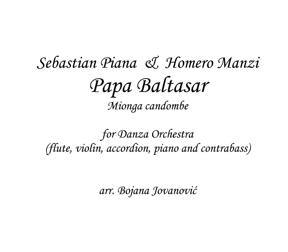 Papa Baltasar (Milonga Candombe) - Sheet Music