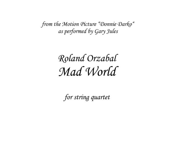 Mad World (Donnie Darko) - Sheet music