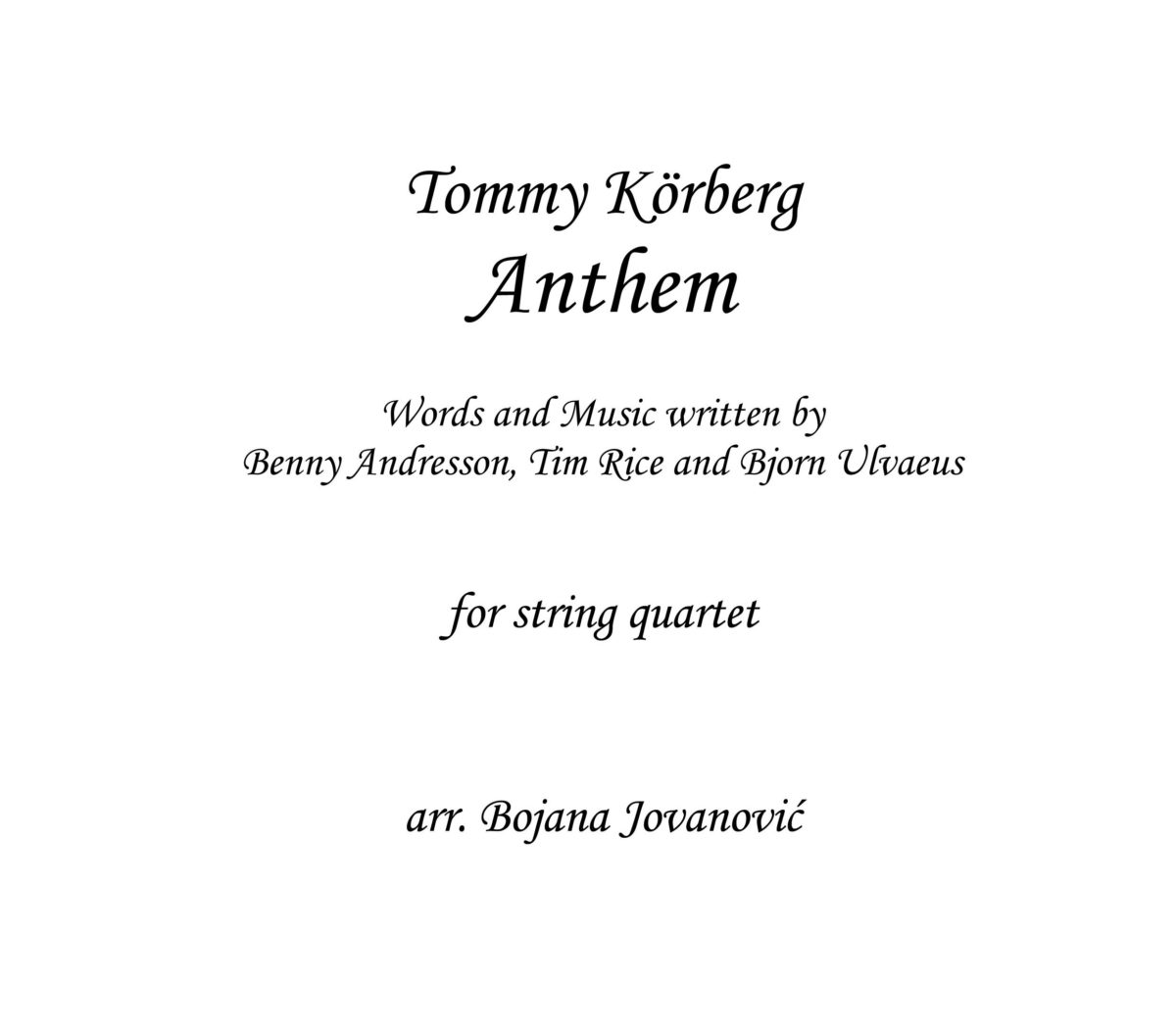 Anthem Sheet music (Chess song)